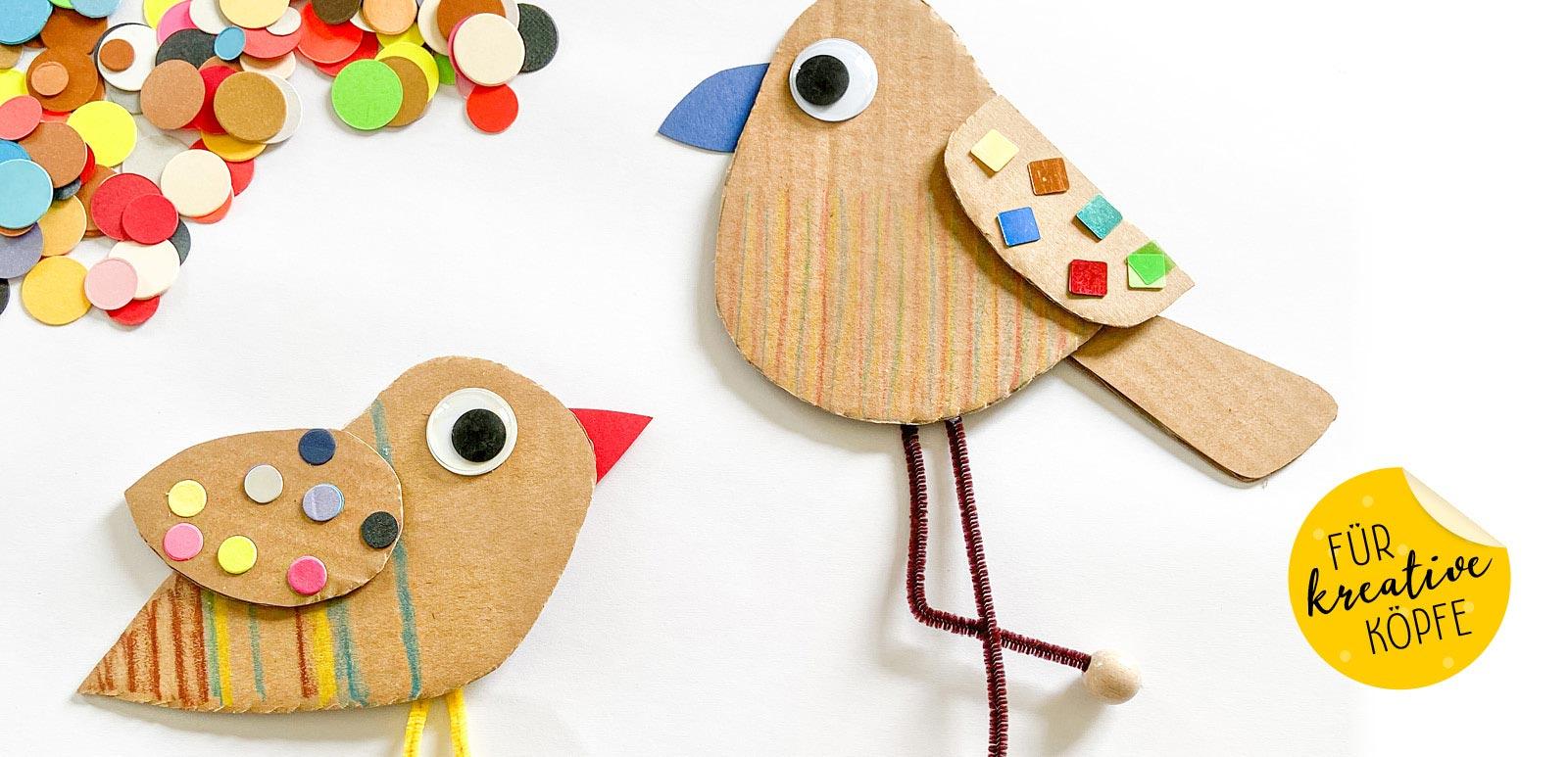 Wir basteln Vögel aus Versandkarton