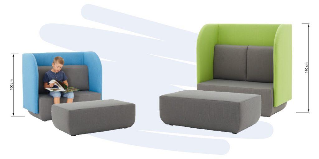 Dieses Hochlehner-Sofa ist der ideale Rückzugsplatz um dem Lärm und Trubel zu entfliehen. Dank der großen seitlichen Wangen entsteht ein toller Rückzugsort zum lesen und für ungestörte Gespräche. Des Weiteren wird durch die gepolsterte Rückenlehne der Schall absorbiert und trägt so zu einer angenehmen Raumakustik bei. Ein stabiles und hochwertiges Holzgestell (inkl. NOSAG-Wellenfederung beim Hort- und Erwachsenenhochlehner) setzt einen niedrigen Schwerpunkt des Sofas. Die zwei Farben lassen das Sofa sehr modern aussehen. Die Sitzfläche inkl. der zwei Rückenkissen werden in Ramon Uni grau geliefert. Bei den Seitenwangen können Sie aus insgesamt 10 Farben wählen und so das Sofa passend zu Ihrem Farbkonzept zusammenstellen. Bezug nicht abziehbar